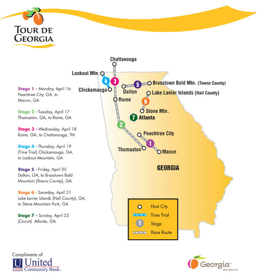 Tour De Georgia Route Map And Winners - Georgia map brasstown bald